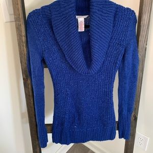 Blue Cowl-Neck Sweater